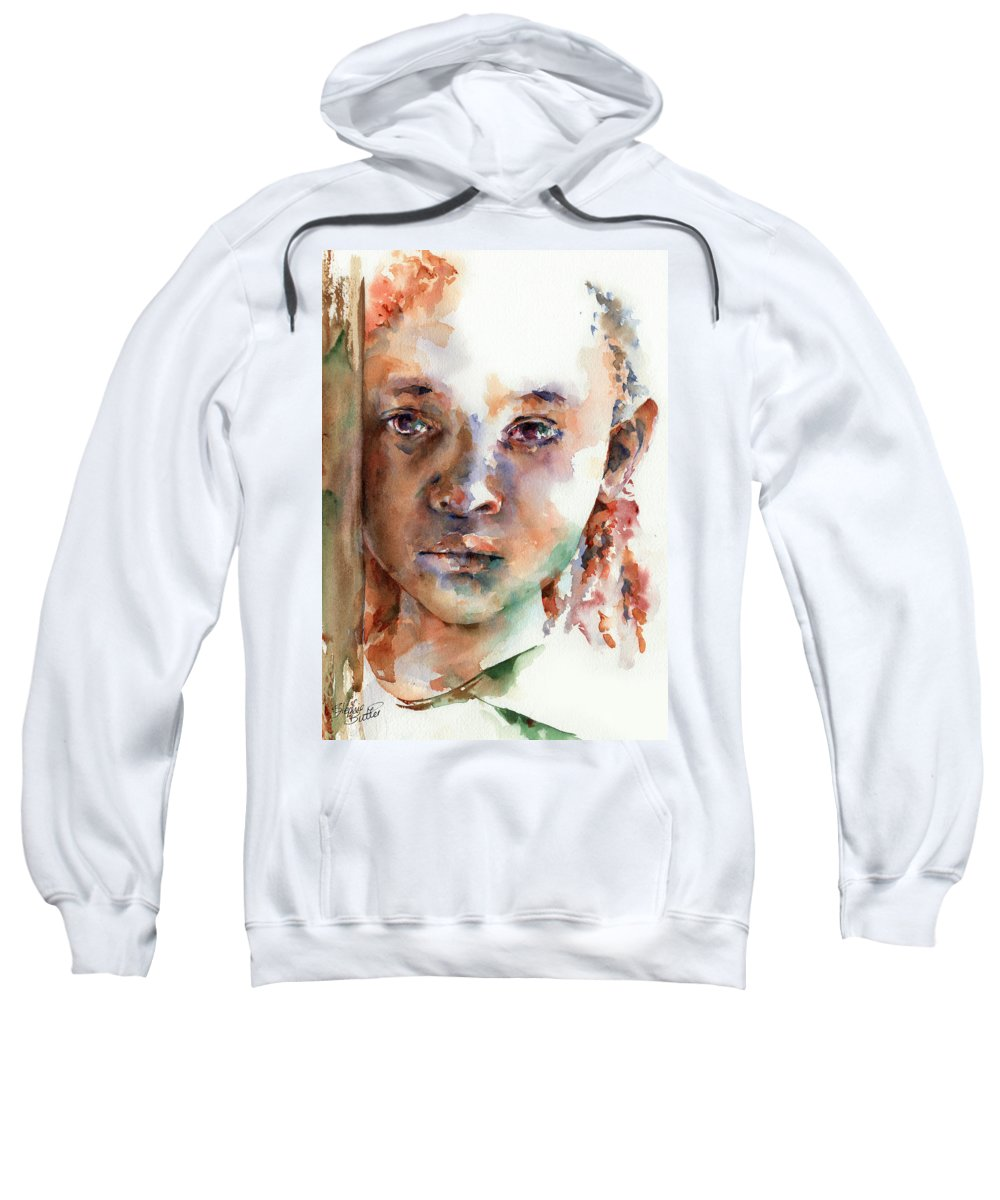 Girl Sweatshirt featuring the painting Wistful by Stephie Butler