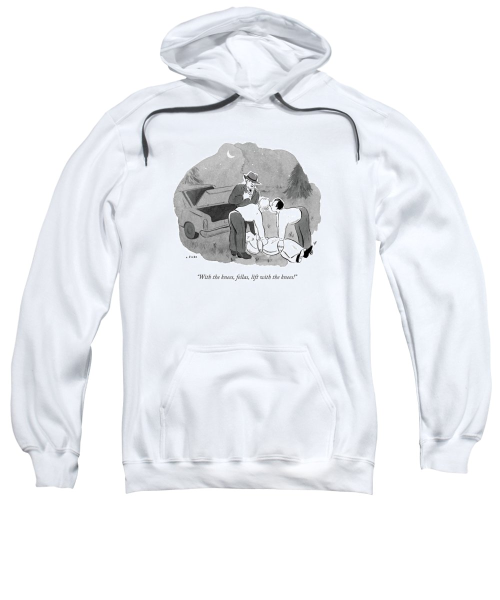 Knees Sweatshirt featuring the drawing With The Knees by Emily Flake