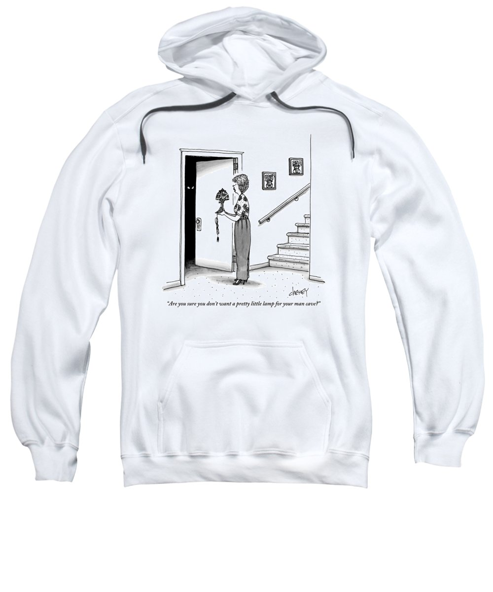 Man Cave Sweatshirt featuring the drawing Woman Holding Lamp Stands At Dark Bedroom Doorway by Tom Cheney