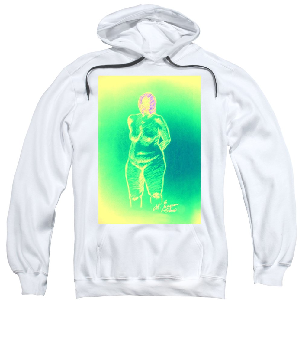 Genio Sweatshirt featuring the mixed media Woman In Green by Genio GgXpress