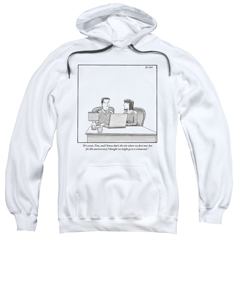 Internet Dating Sweatshirt featuring the drawing Woman Speaks To Husband As They Sit Behind A Desk by Harry Bliss