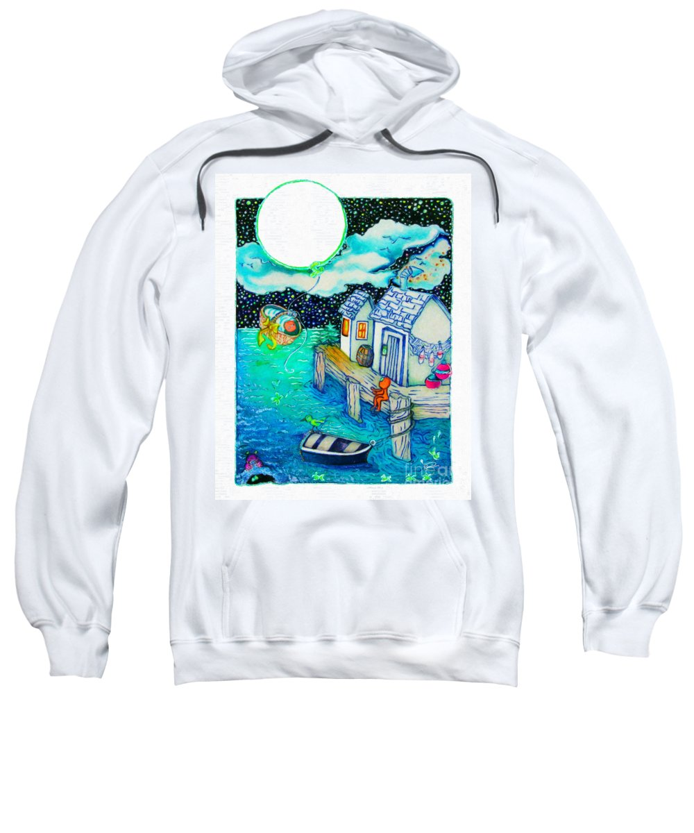Childrens Art Sweatshirt featuring the painting Woobies Character Baby Art Colorful Whimsical Design By Romi Neilson by Megan Duncanson
