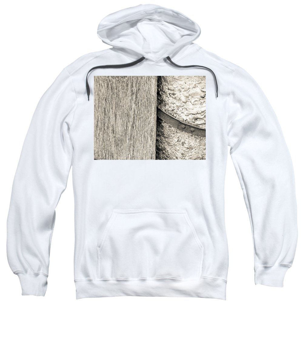 Wood Sweatshirt featuring the photograph Wood Concrete And Steel by Nick Kirby