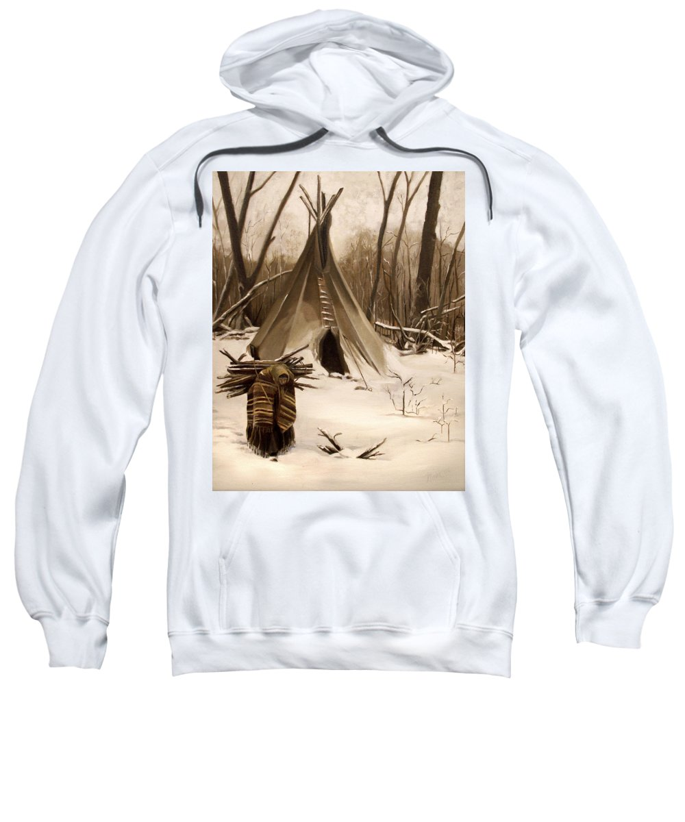 Native American Sweatshirt featuring the painting Wood Gatherer by Nancy Griswold
