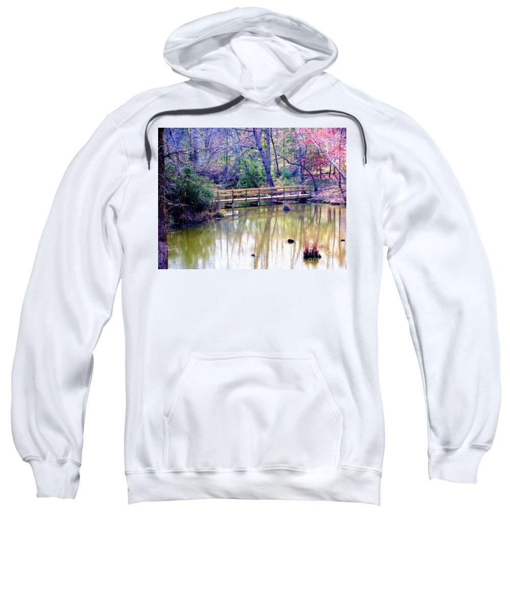 Wooden Bridges Sweatshirt featuring the photograph Wooden Bridge Over Pond by Kathy White