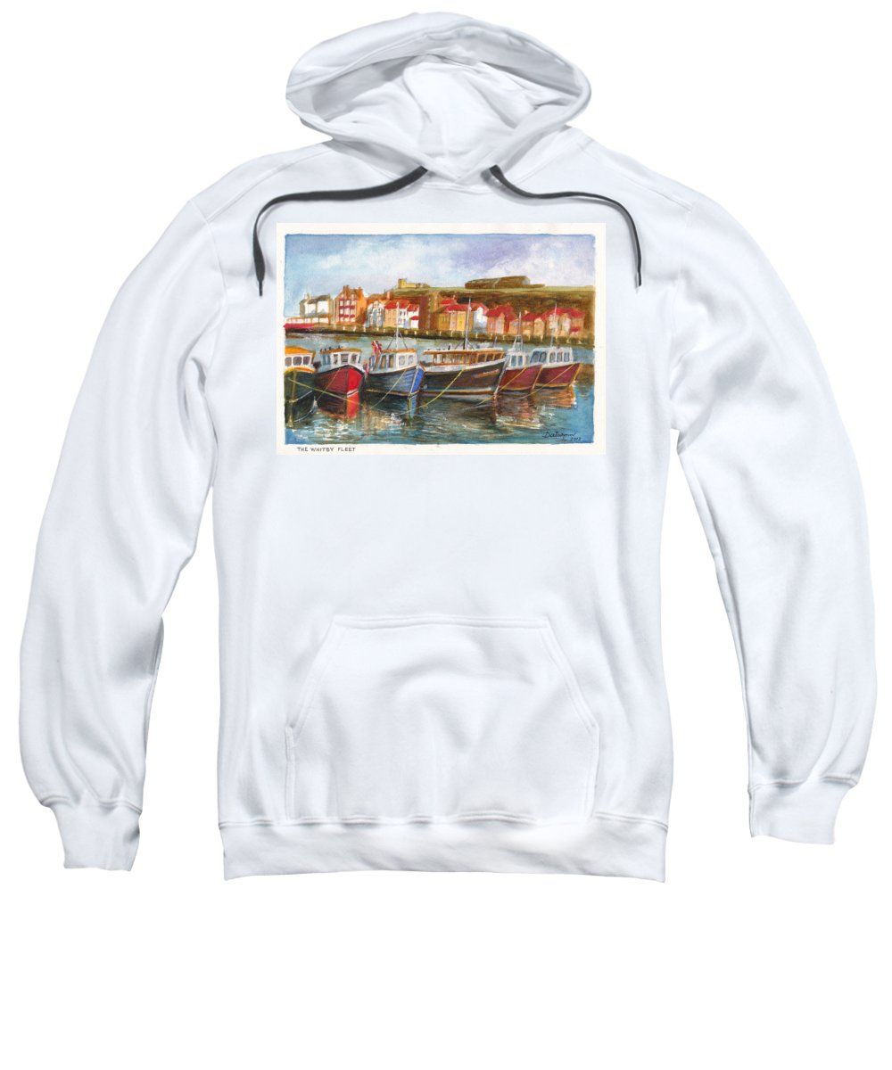 Fishing Fleet Sweatshirt featuring the painting Wooden Fishing Boats In The Whitby Fleet Of Northern England by Dai Wynn