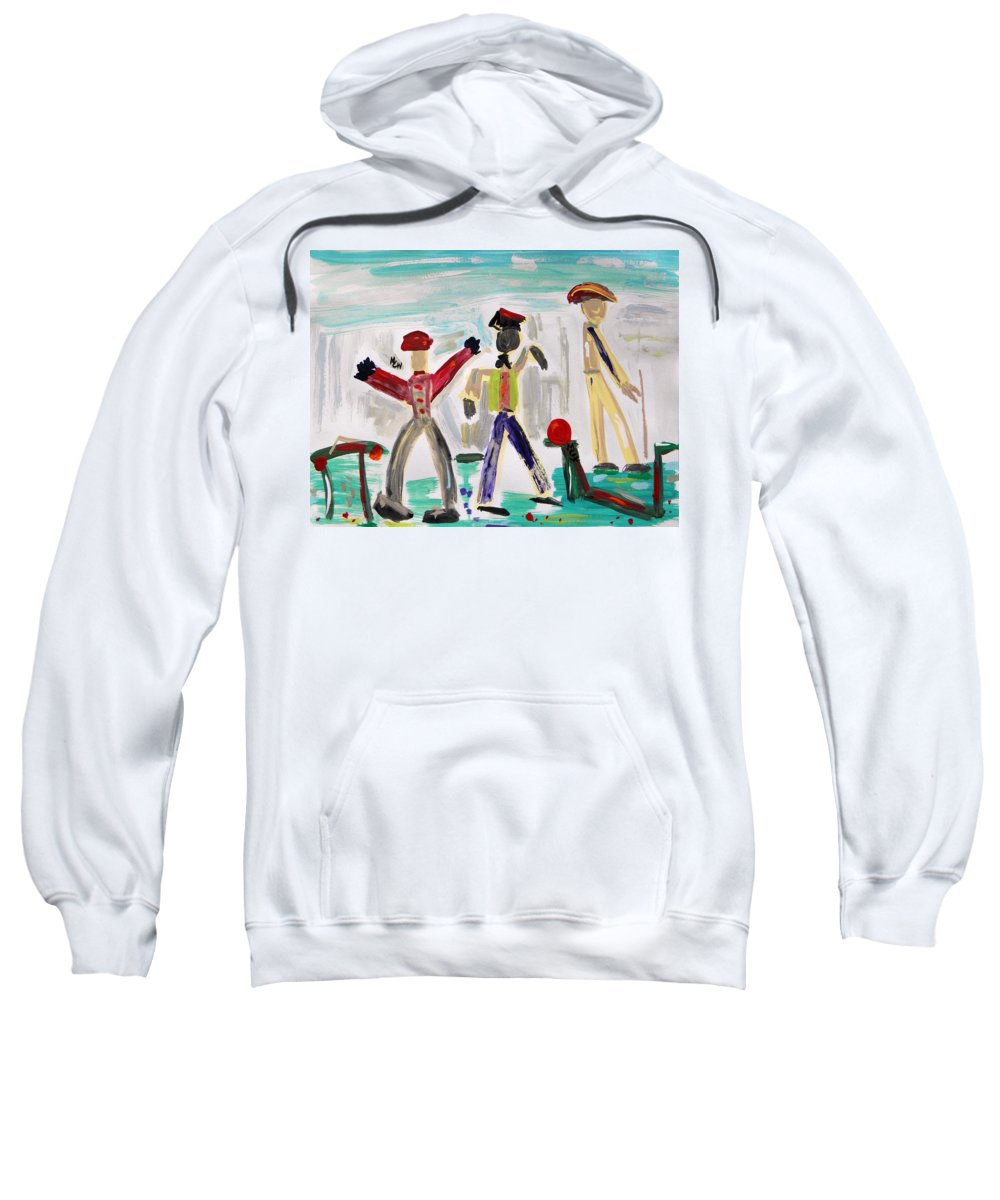 Men Sweatshirt featuring the painting Working by Mary Carol Williams