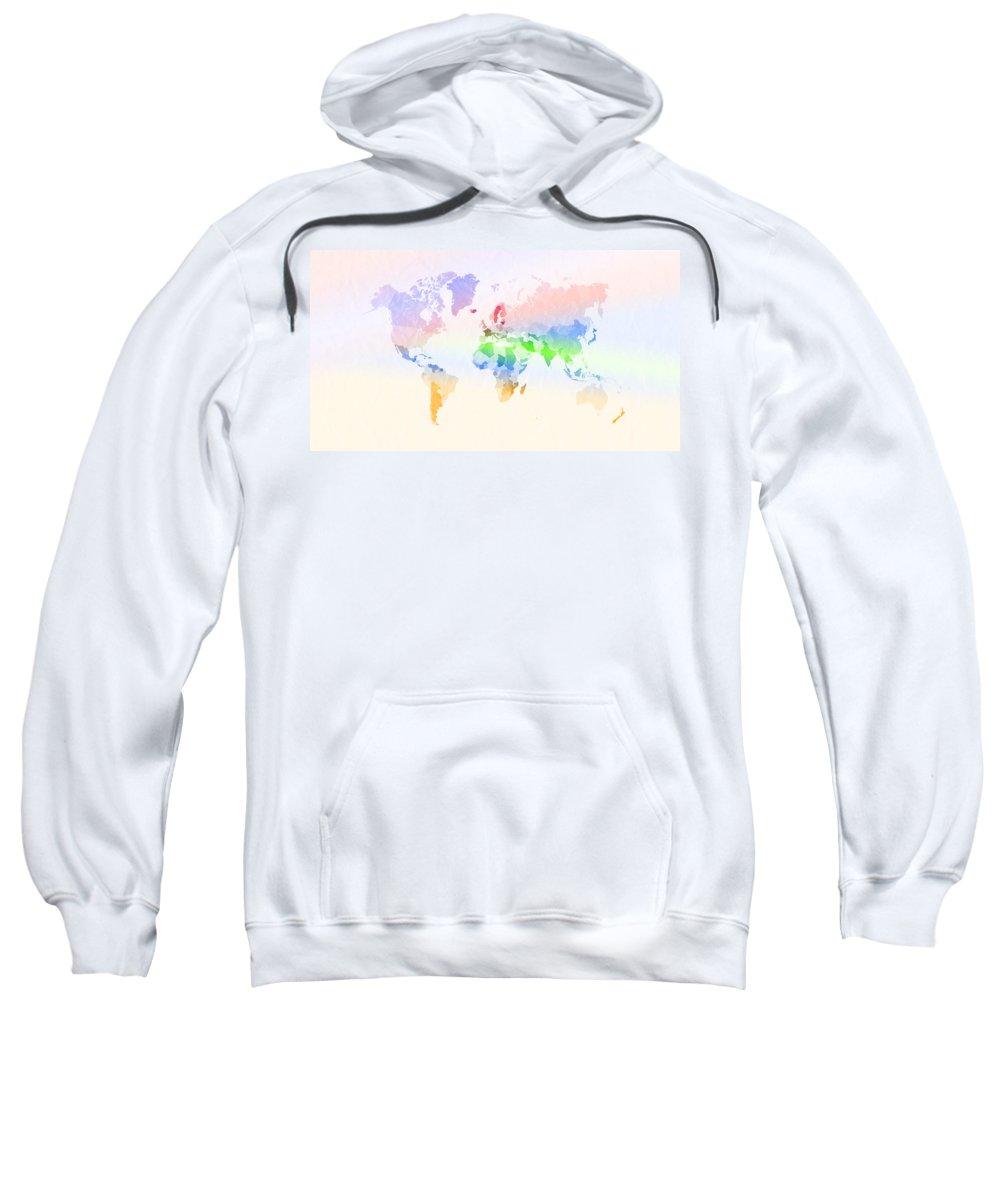 Digital Sweatshirt featuring the digital art World Map Crumpled Multi-coloured by Hakon Soreide