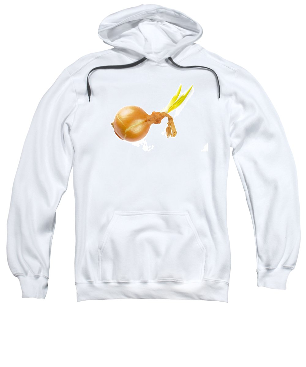 Cuisine Sweatshirt featuring the photograph Yellow Onion With Sprout by Alain De Maximy