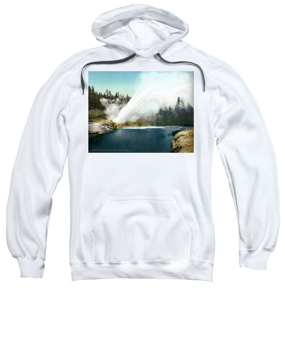 1905 Sweatshirt featuring the painting Yellowstone Geyser, C1905 by Granger