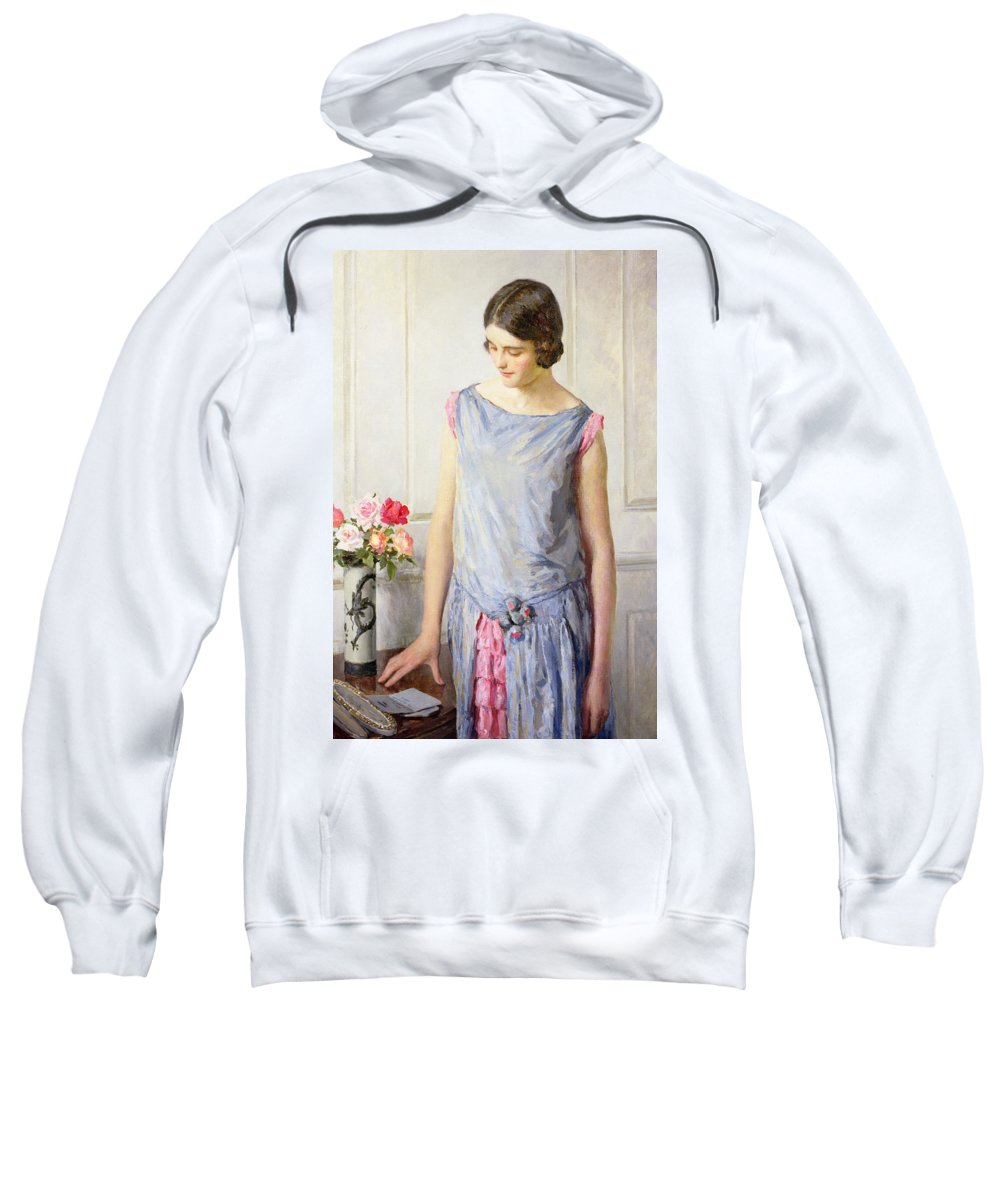Yes Sweatshirt featuring the painting Yes Or No by William Henry Margetson