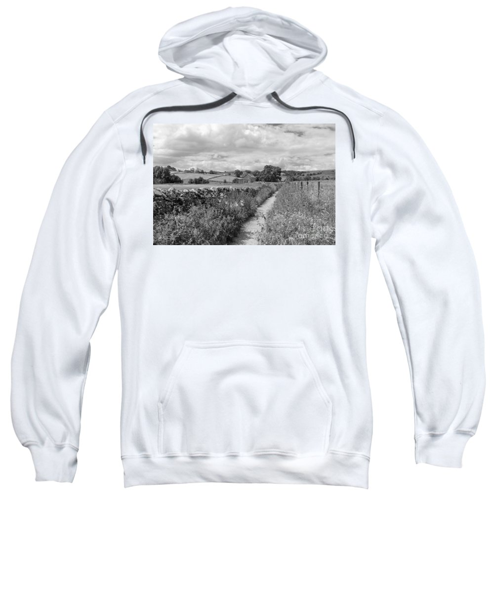 Yorkshire Dales Uk Dramatic Clouds England Uk English British Britain Landscape Countryside Traditional Path Through Track Trail Footpath Fluffy Cloud Single Lone Depth Cumulus White Black Mono Sky Skies Drifting Rural Dry Stone Wall Sweatshirt featuring the photograph Yorkshire Dales Uk by Julia Gavin
