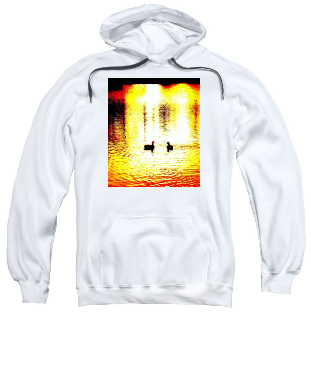 Birds Sweatshirt featuring the photograph You Light Up My Life, We Shall Swim Together Forever  by Hilde Widerberg