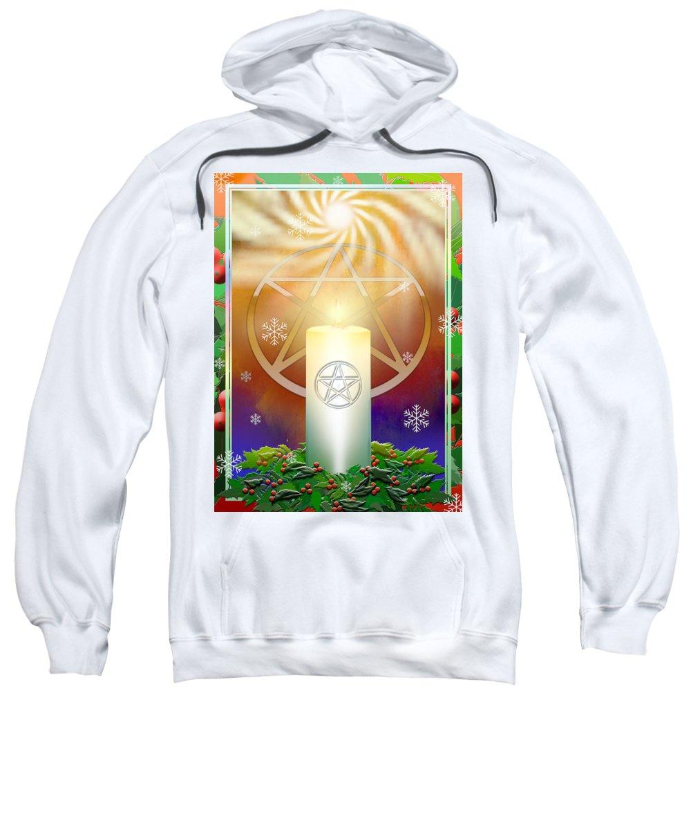 Yule Sweatshirt featuring the digital art Yule Sun by Melissa A Benson