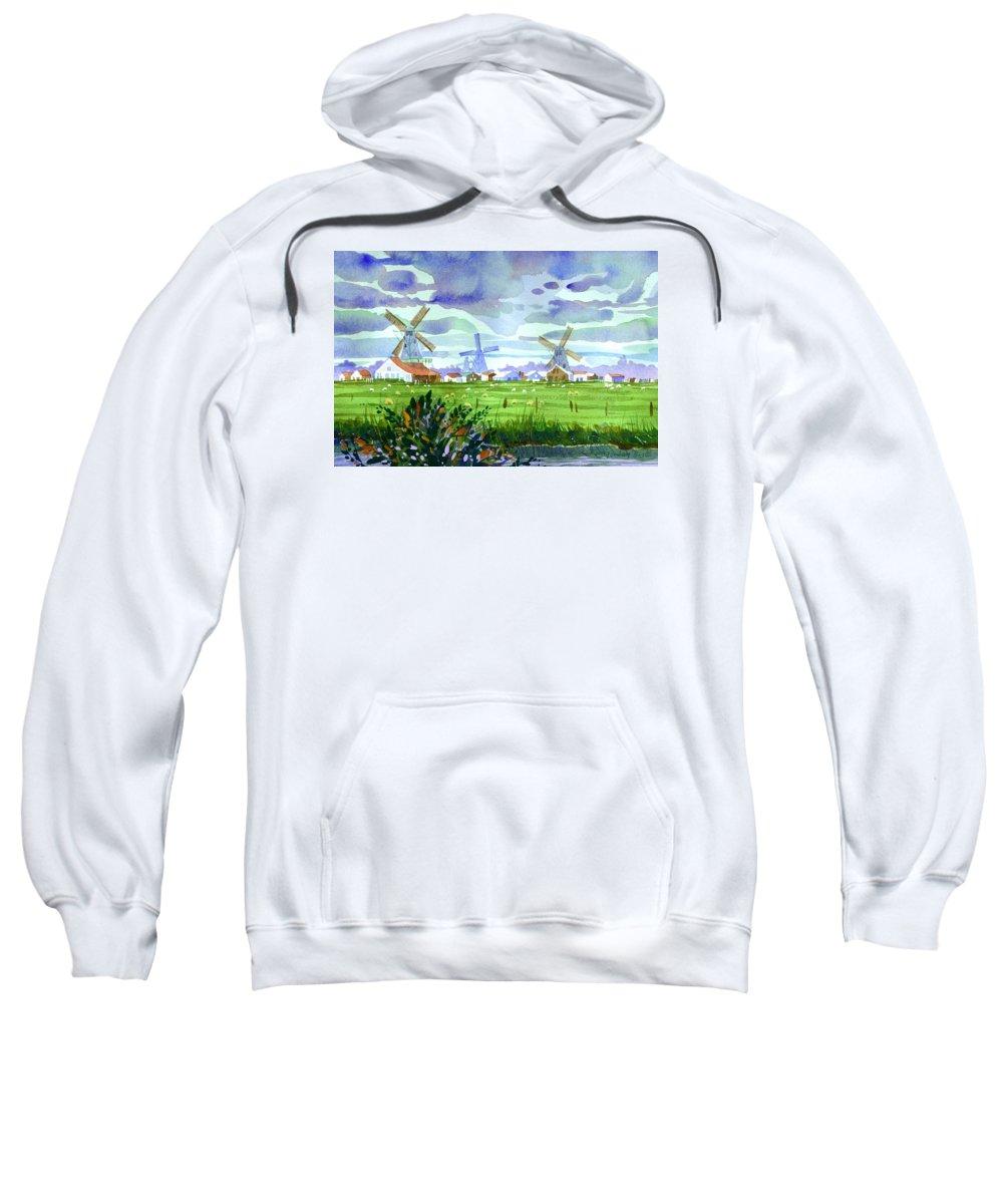 Amsterdam Sweatshirt featuring the painting Zaanse Schans Windmills by Lee Klingenberg