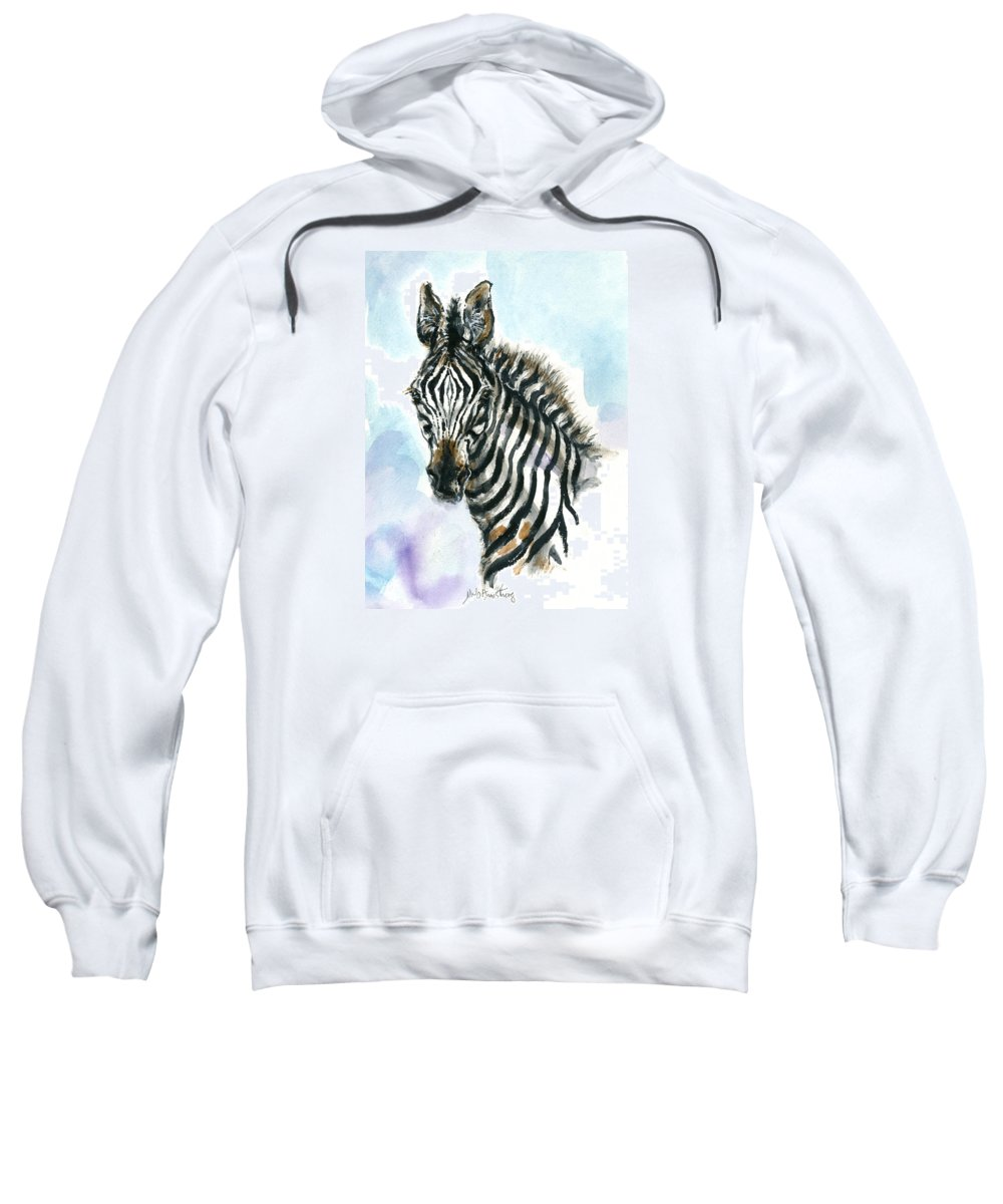 Mary Ogden Armstrong Sweatshirt featuring the painting Zebra 1 by Mary Armstrong