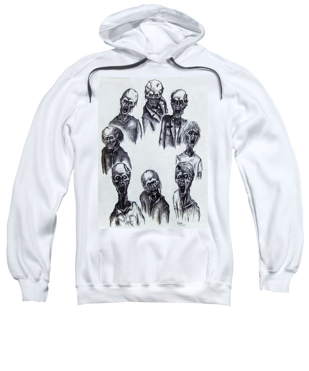 Michael Sweatshirt featuring the drawing Zombies by Michael TMAD Finney