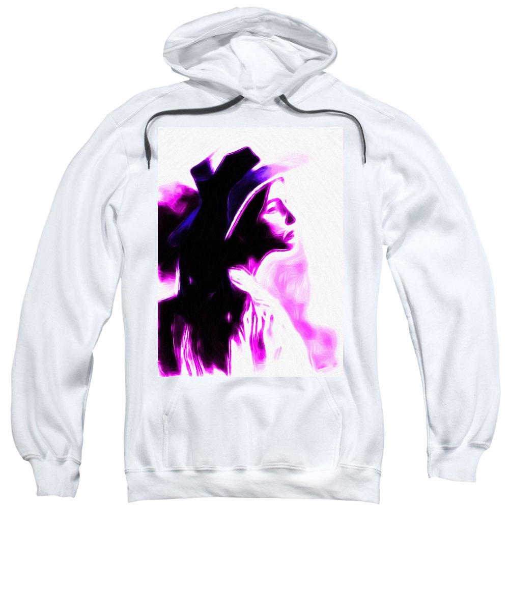 Lady Woman Girl Female Vintage Hat Abstract Oil Pastel Painting Expressionism Sweatshirt featuring the painting Lady With Hat by Steve K