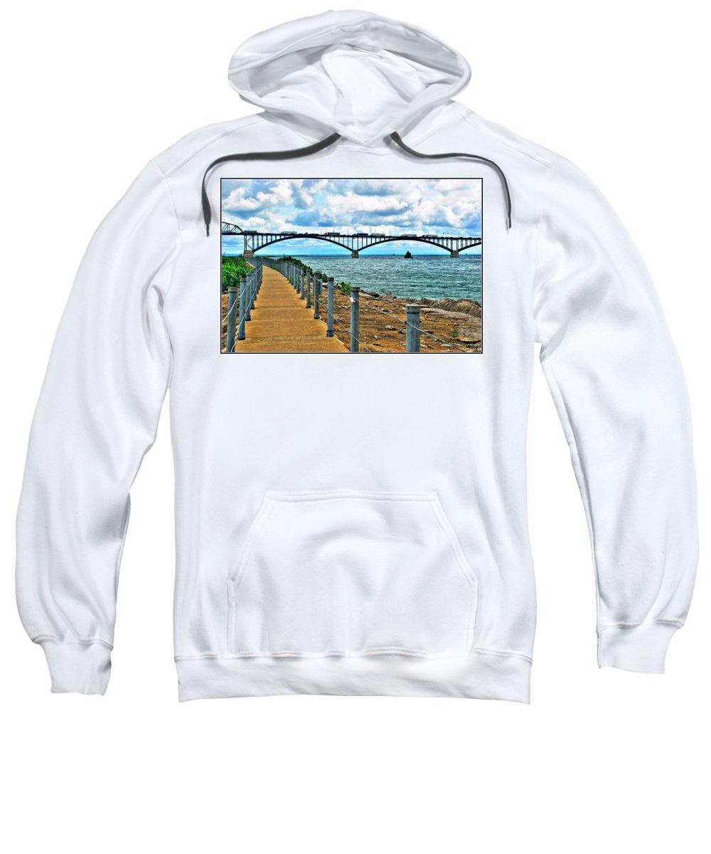 Sweatshirt featuring the photograph 004 Stormy Skies Peace Bridge Series by Michael Frank Jr