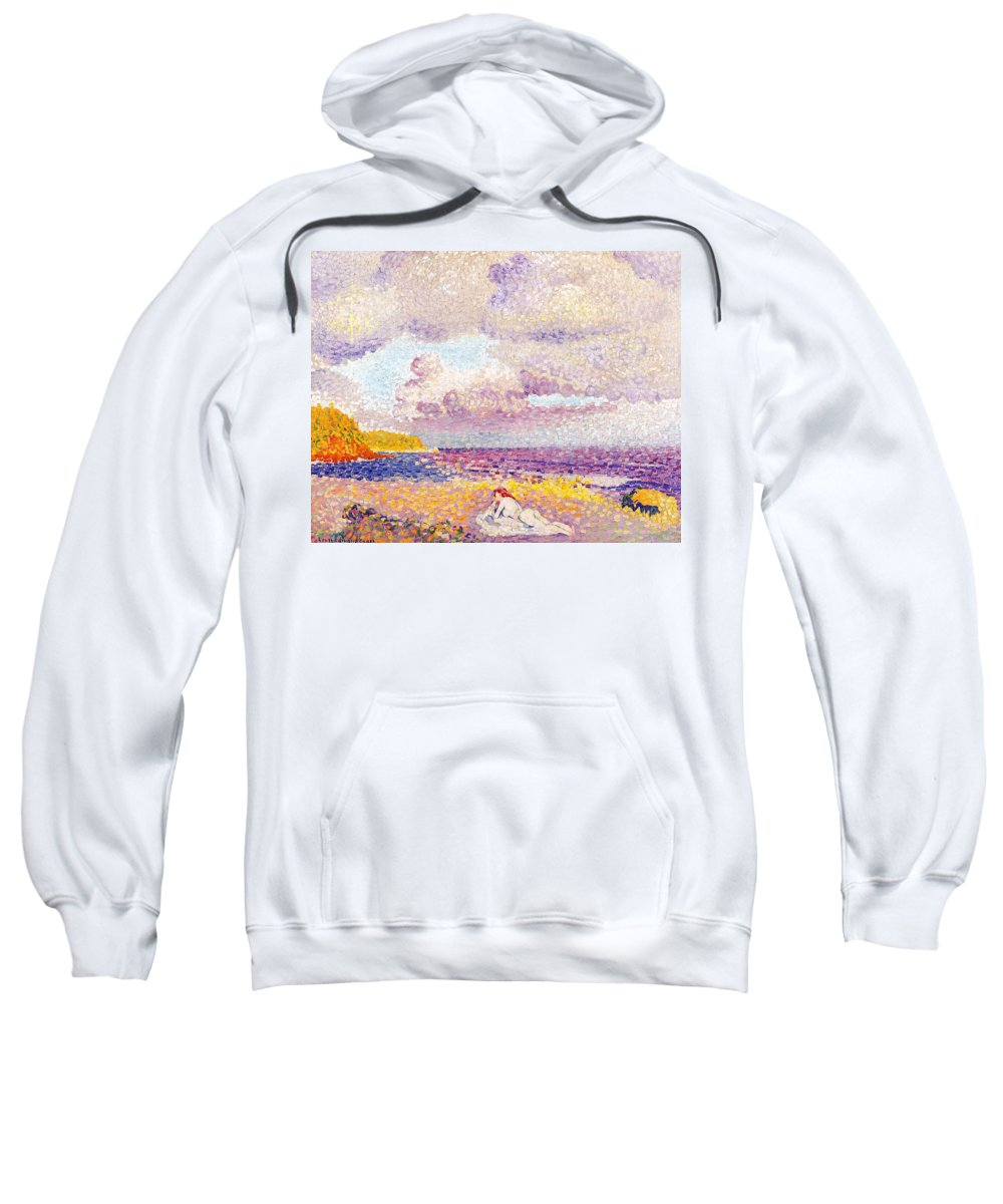 An Incoming Storm Sweatshirt featuring the painting An Incoming Storm by Henri-Edmond Cross