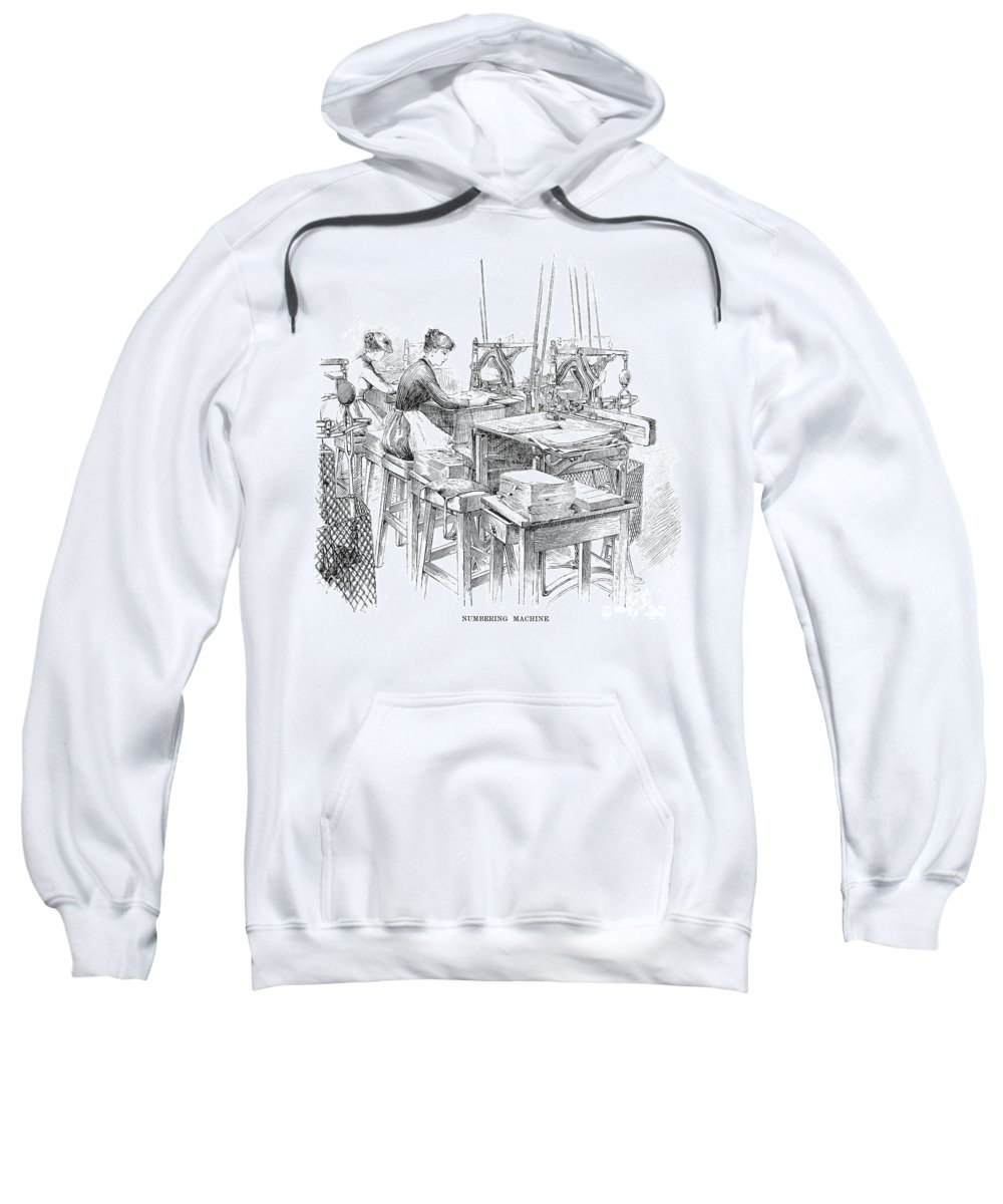 1890 Sweatshirt featuring the photograph Bank Note Printing Press by Granger