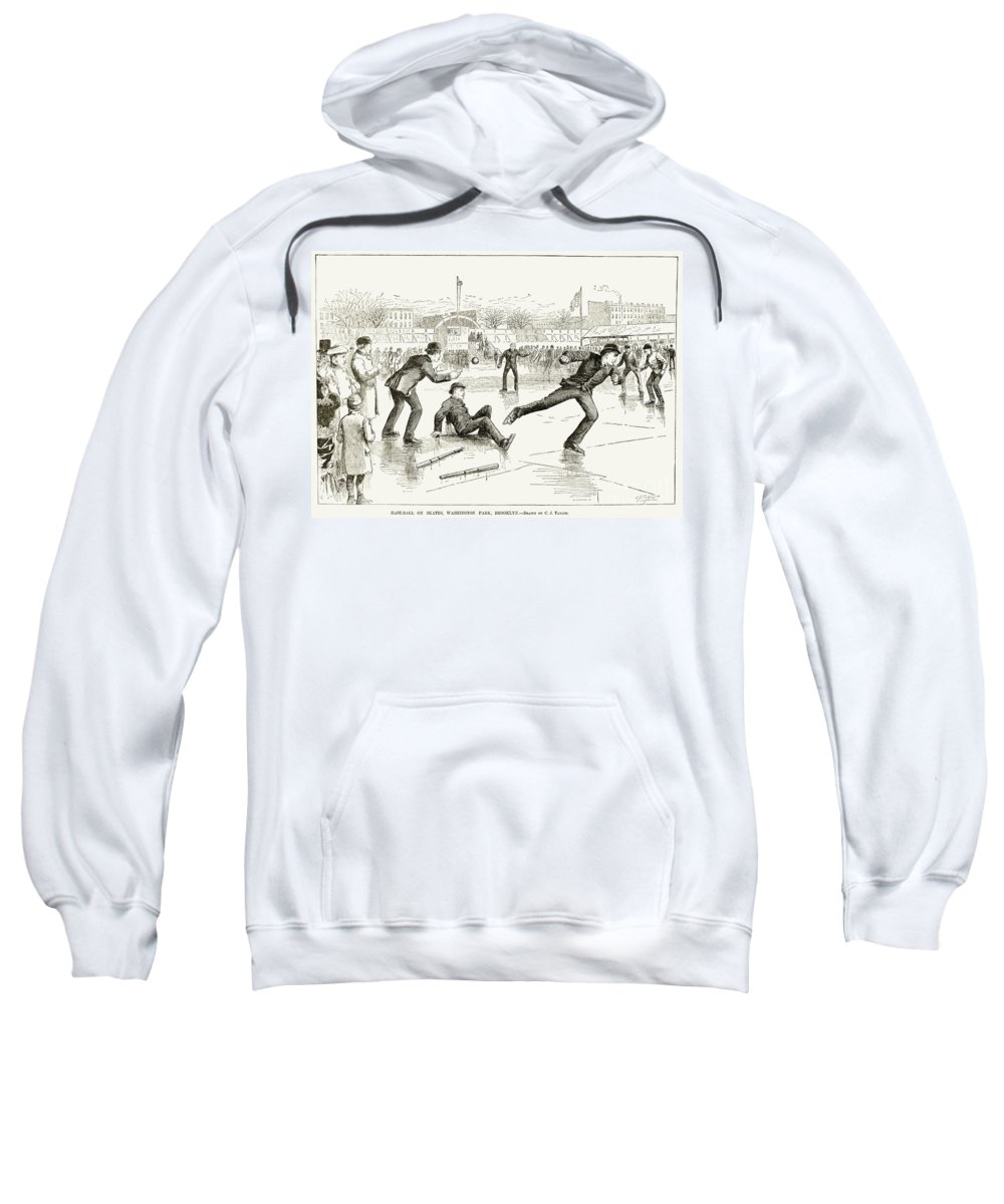 1884 Sweatshirt featuring the photograph Baseball On Ice, 1884 by Granger