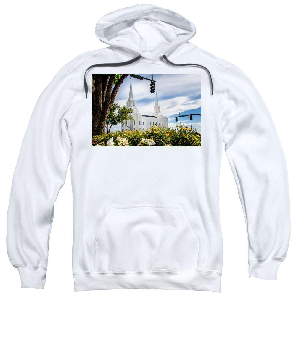 Brigham City Temple Photography Sweatshirt featuring the photograph Brigham City Temple Street Lights by La Rae Roberts