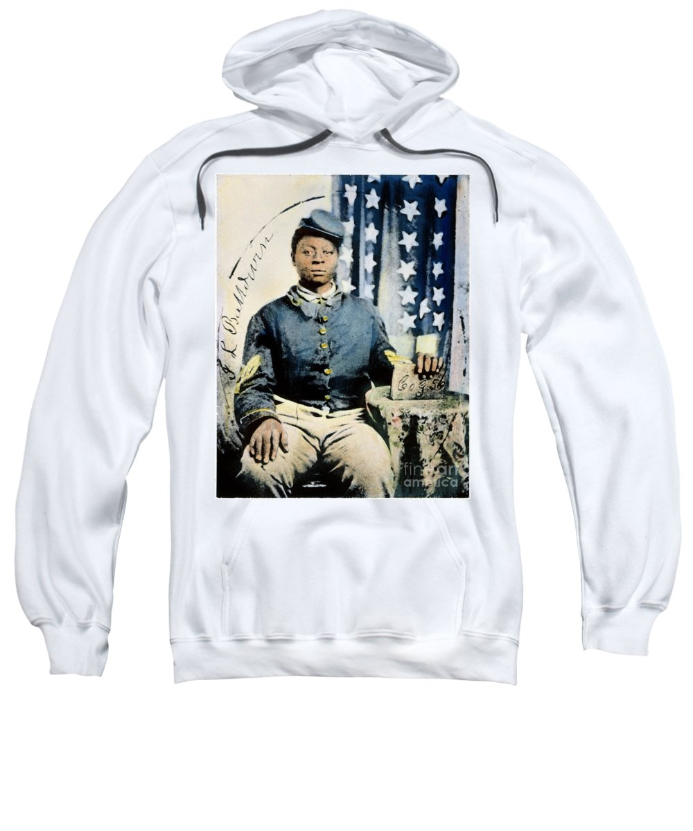 1860s Sweatshirt featuring the photograph Civil War: Black Soldier by Granger