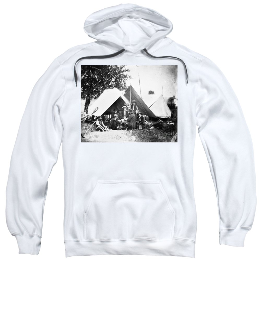 1860s Sweatshirt featuring the photograph Civil War: Signal Corps by Granger