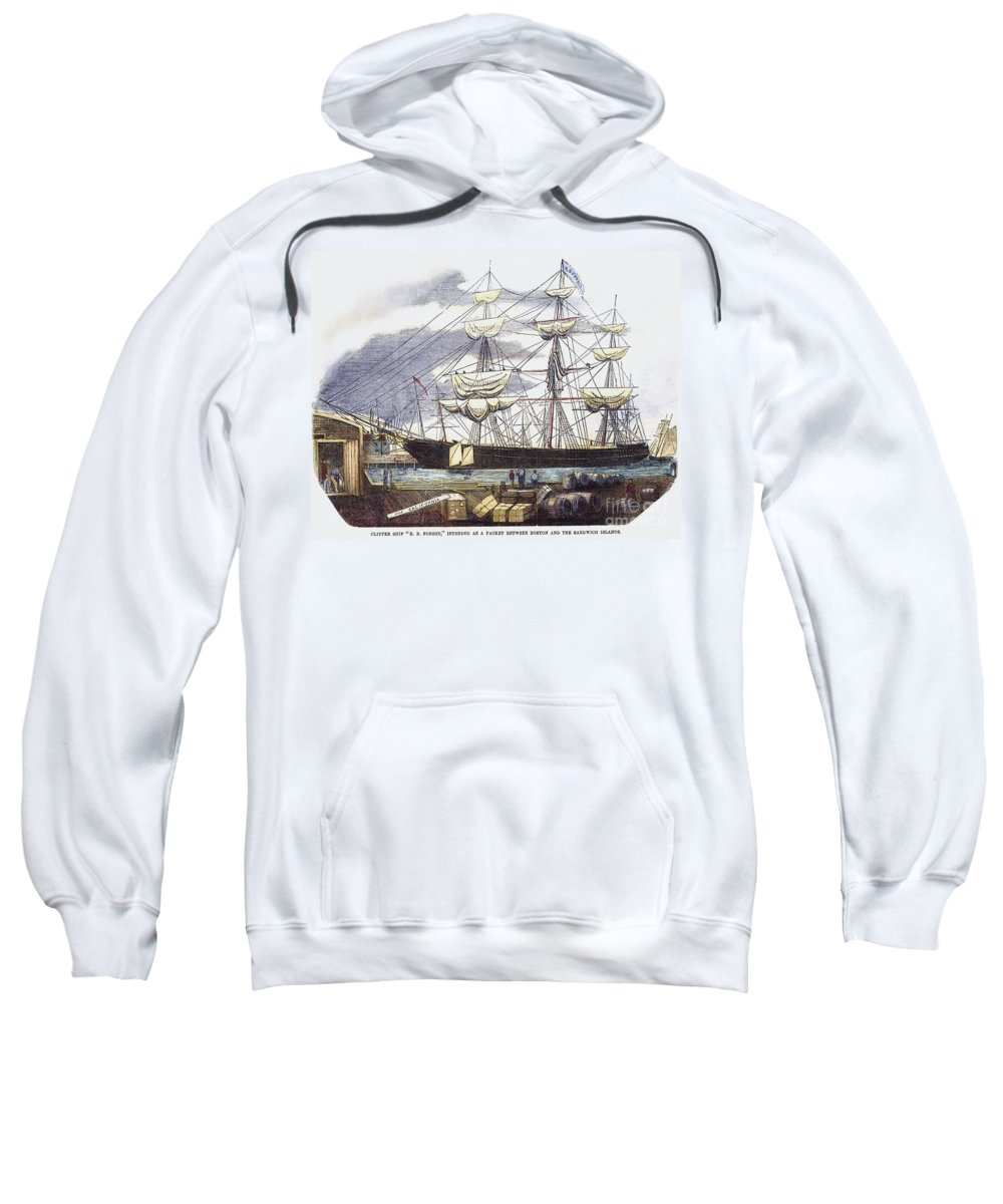 1850s Sweatshirt featuring the photograph Clipper Ship, 1851 by Granger