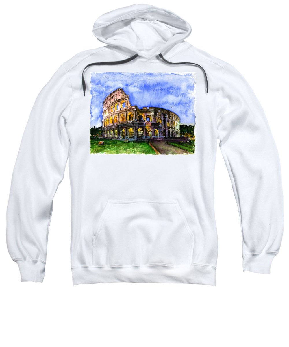 Colosseum Sweatshirt featuring the painting Colosseum by John D Benson