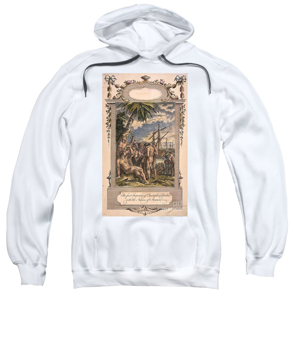 1492 Sweatshirt featuring the photograph Columbus: Native Americans by Granger