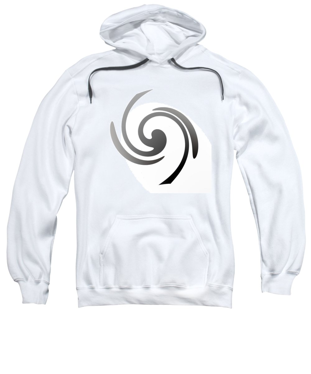 Form Forms Black White Triangle Geometric Abstract Art Minimalism Spiral Digital Painting Black White Energy Sweatshirt featuring the digital art Energy by Steve K