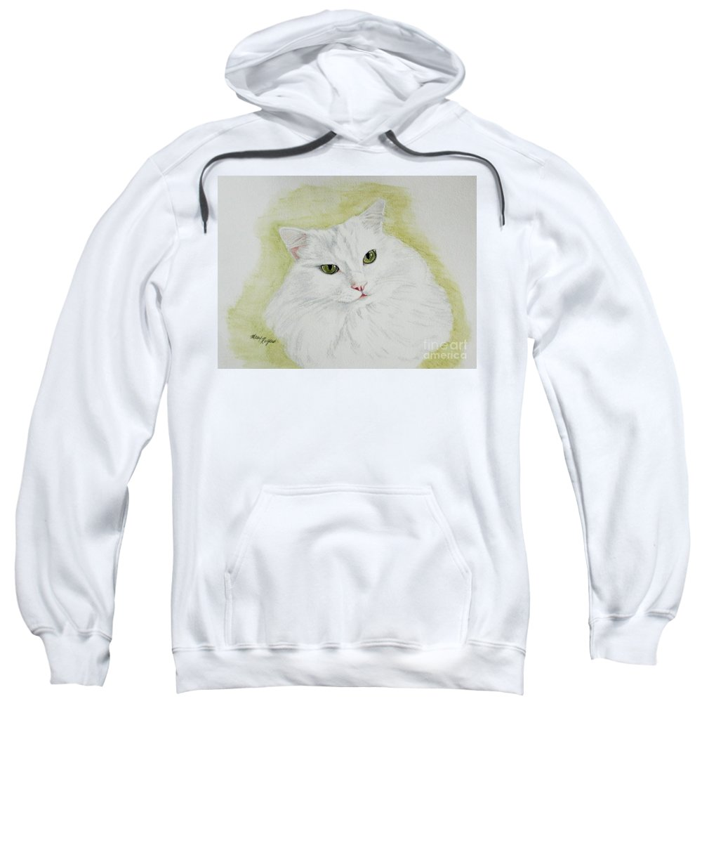 Cat Sweatshirt featuring the painting Henri by Mary Rogers