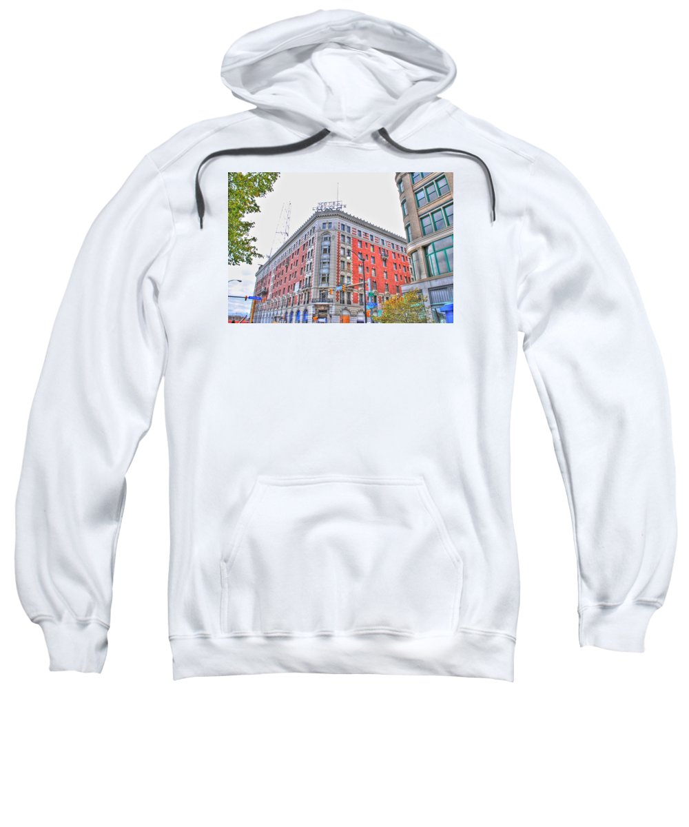 Sweatshirt featuring the photograph Hotel Lafayette by Michael Frank Jr