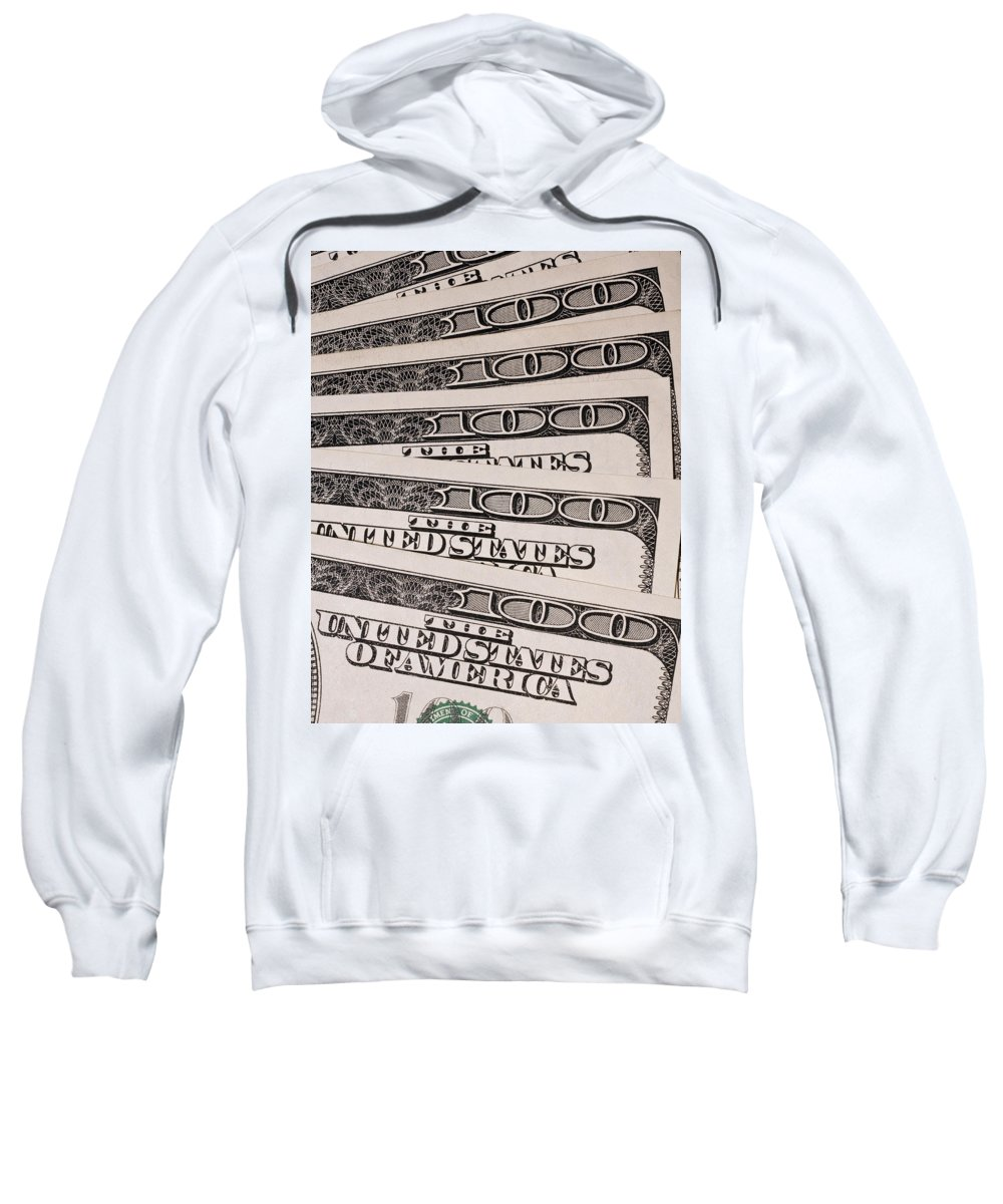 Accountant Sweatshirt featuring the photograph Hundred Dollar Bills by Joe Carini - Printscapes