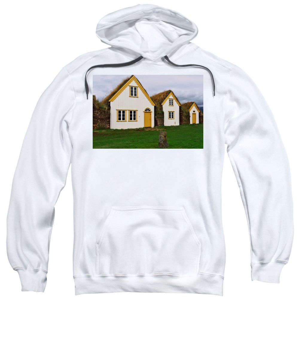 Iceland Sweatshirt featuring the photograph Icelandic Turf Houses by Ivan Slosar