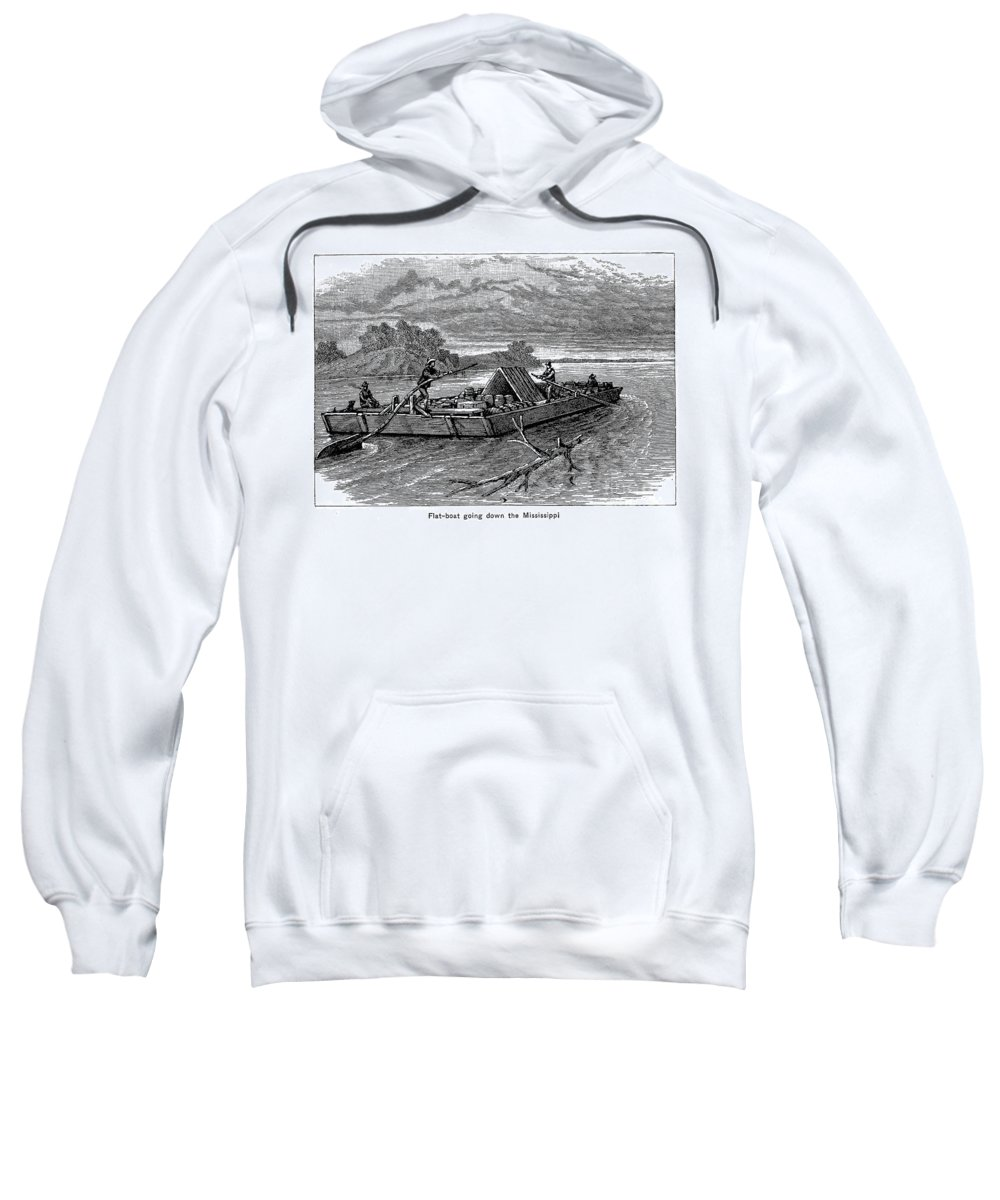19th Century Sweatshirt featuring the photograph Mississippi: Flatboat by Granger