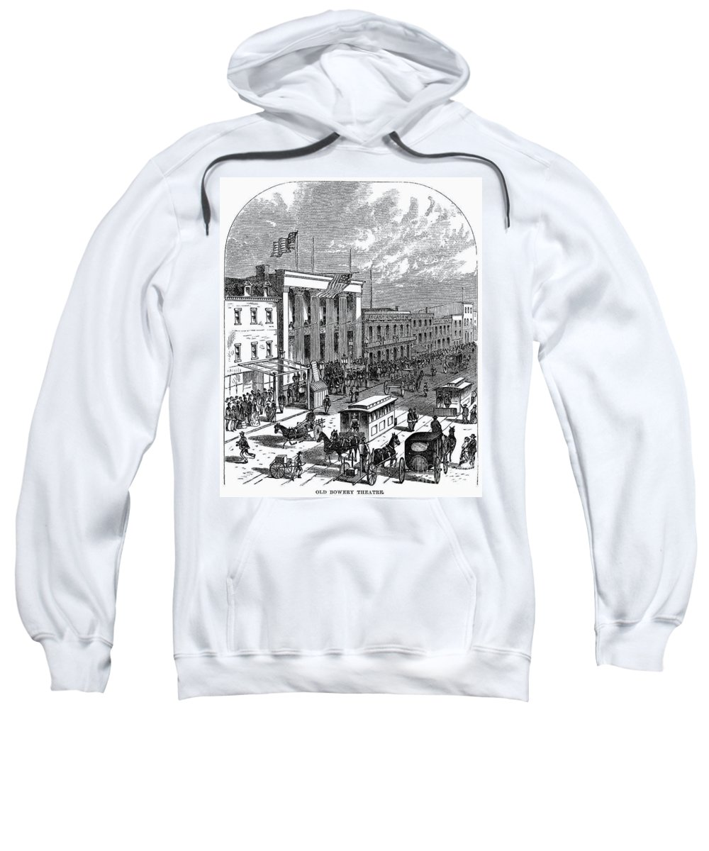 1871 Sweatshirt featuring the photograph New York: The Bowery, 1871 by Granger