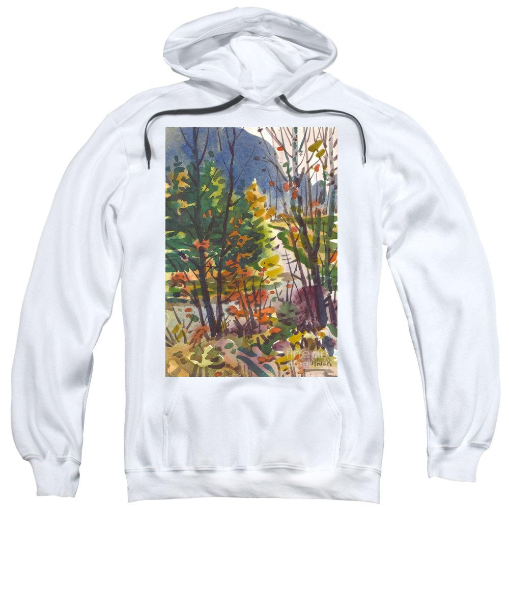 Watercolor Sweatshirt featuring the painting River Bend by Donald Maier