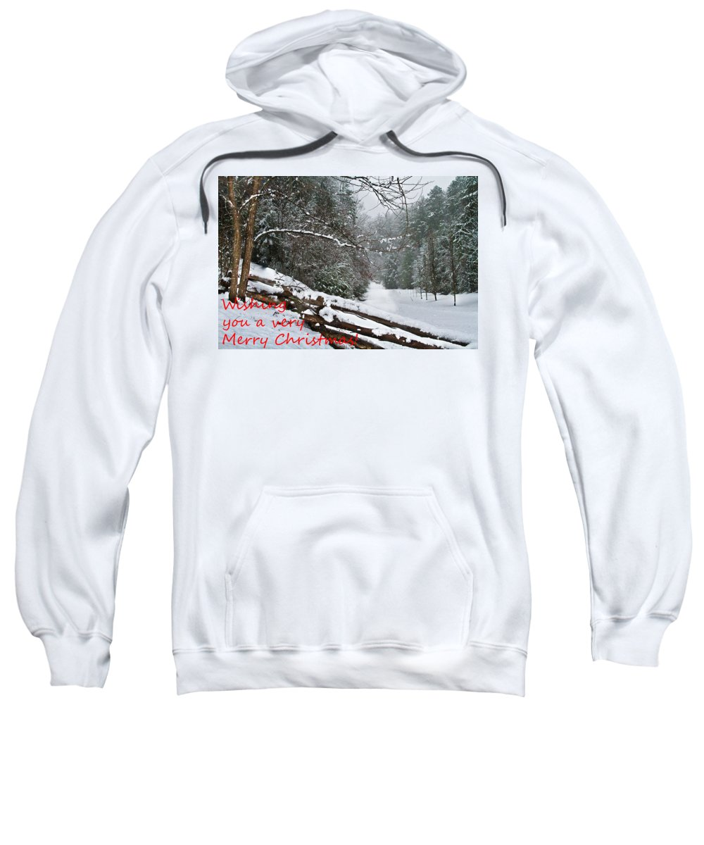 Appalachia Sweatshirt featuring the photograph Snowy Fence by Debra and Dave Vanderlaan
