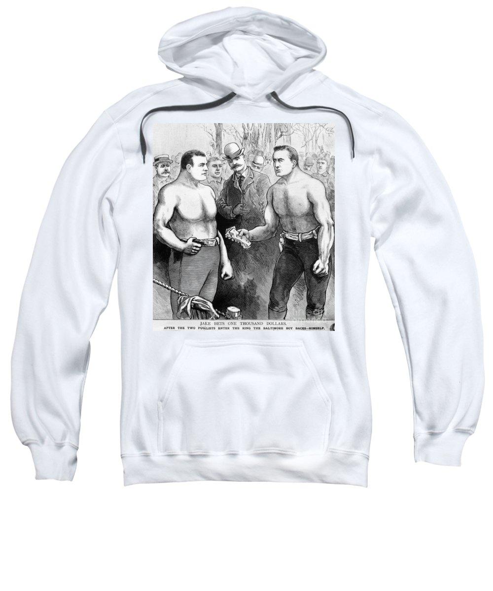 1889 Sweatshirt featuring the photograph Sullivan Vs. Kilrain, 1889 by Granger