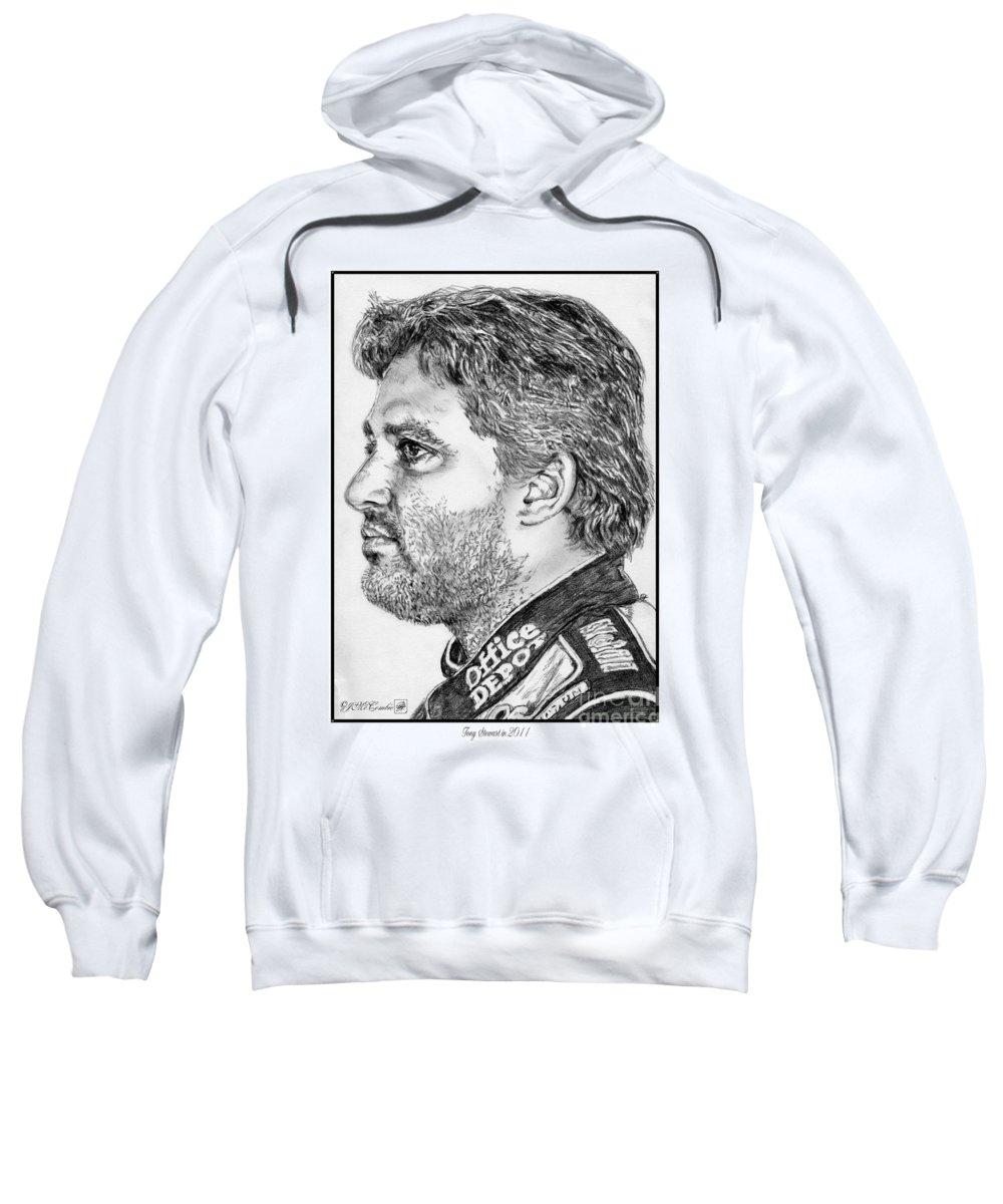 Tony Stewart Sweatshirt featuring the drawing Tony Stewart In 2011 by J McCombie