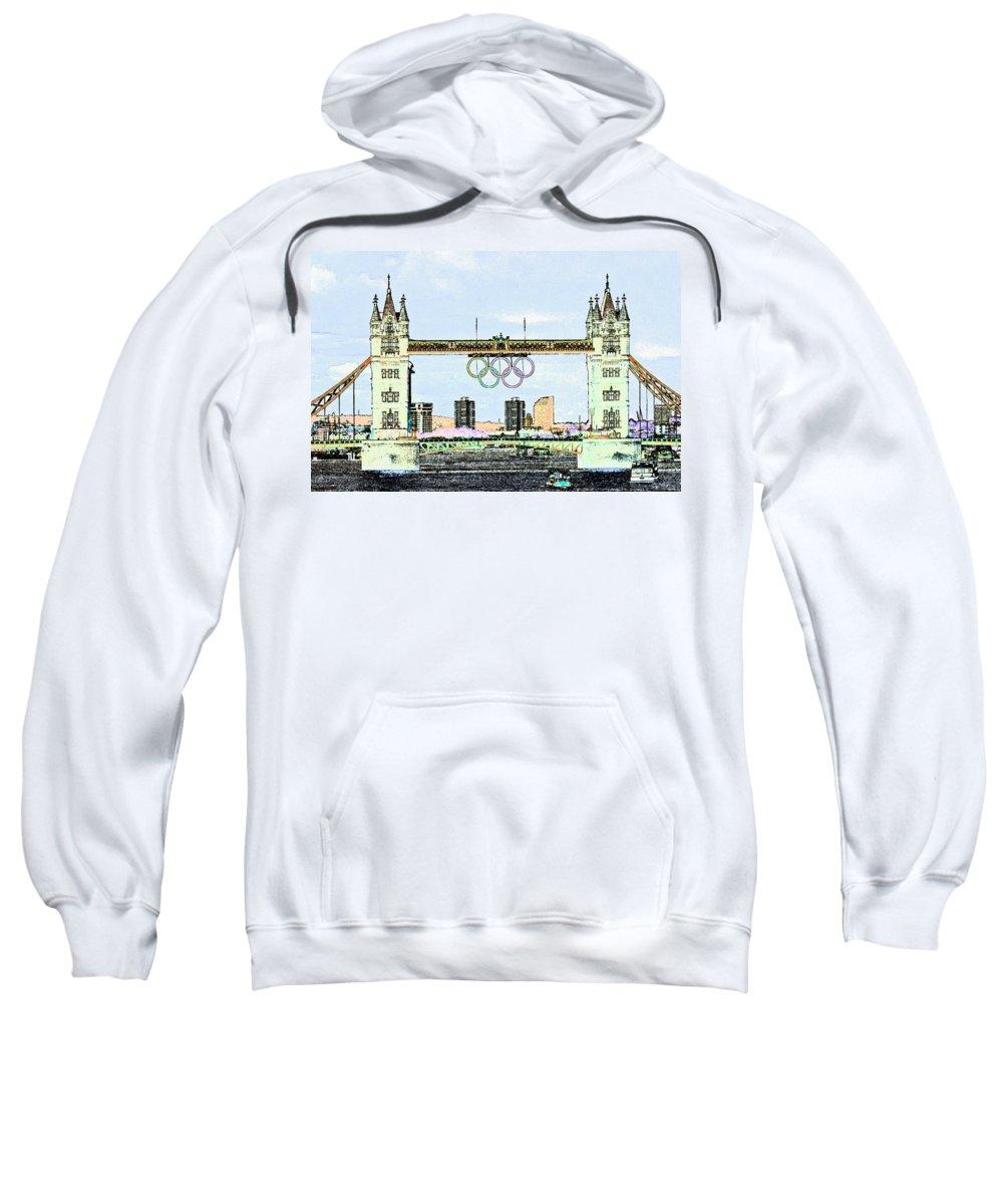 Olympics Sweatshirt featuring the digital art Tower Bridge Art by David Pyatt