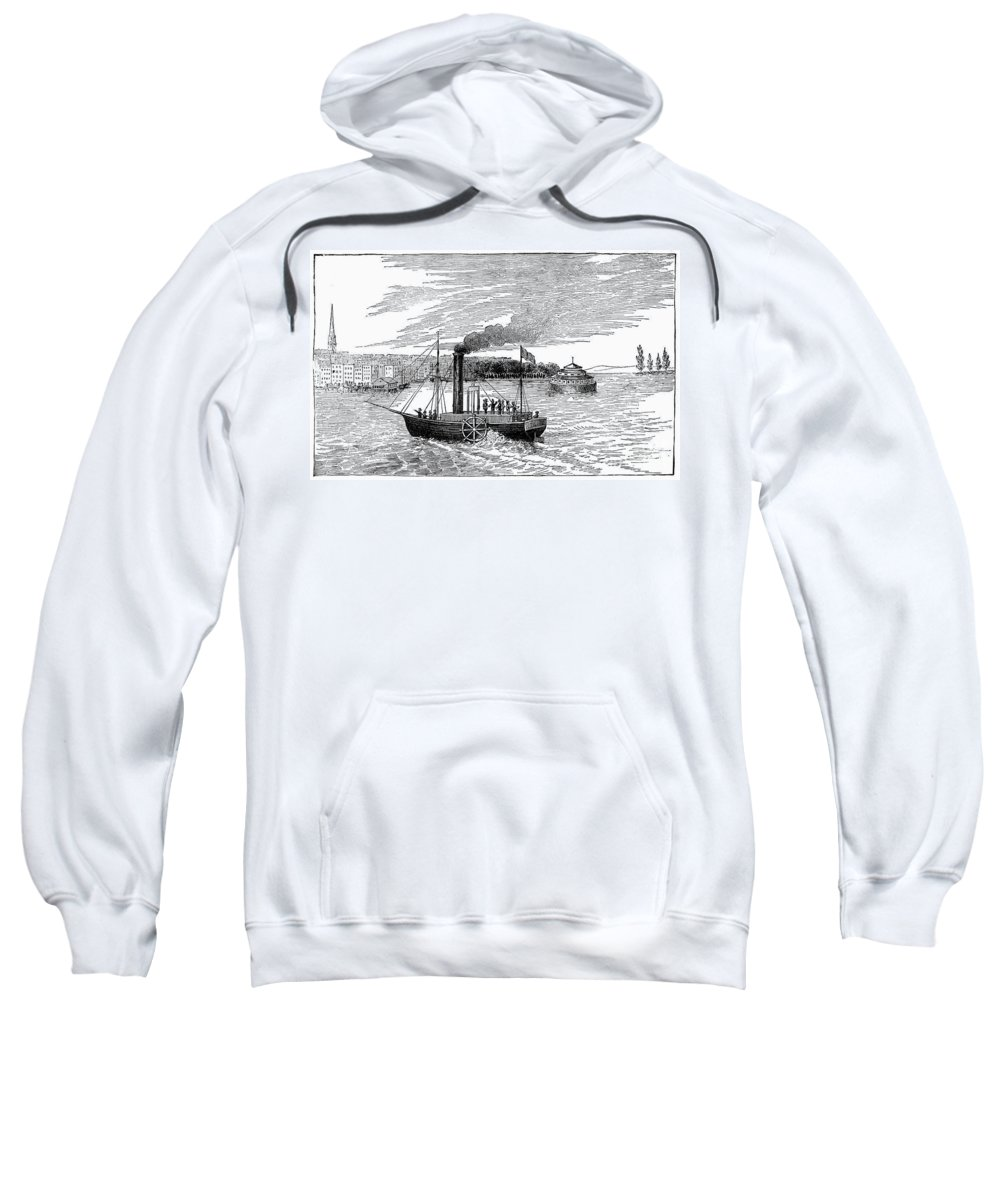 1902 Sweatshirt featuring the photograph Robert Fultons Clermont by Granger