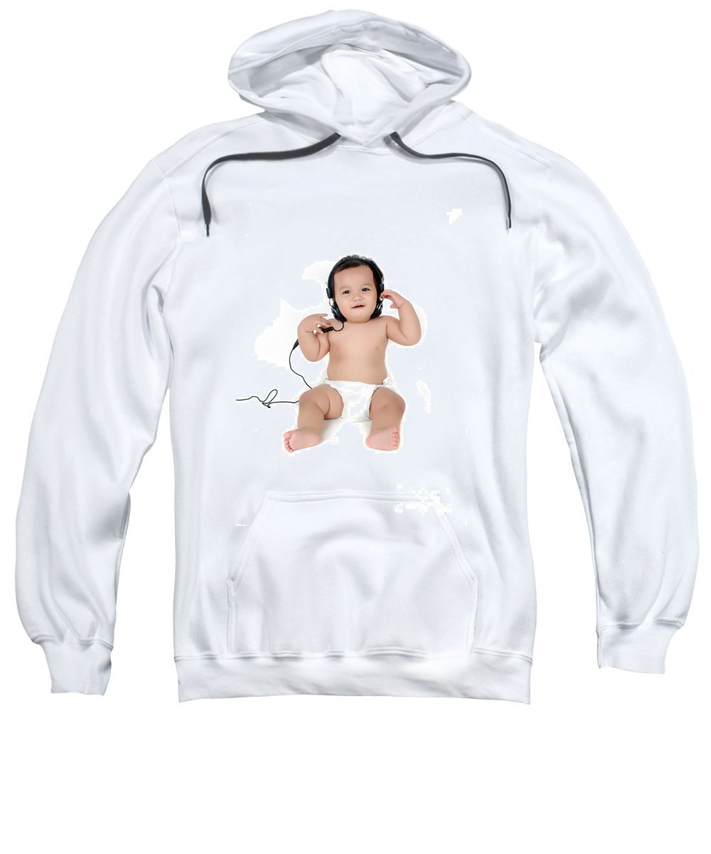 Baby Sweatshirt featuring the photograph A Chubby Little Girl Listen To Music With Headphones by Antoni Halim