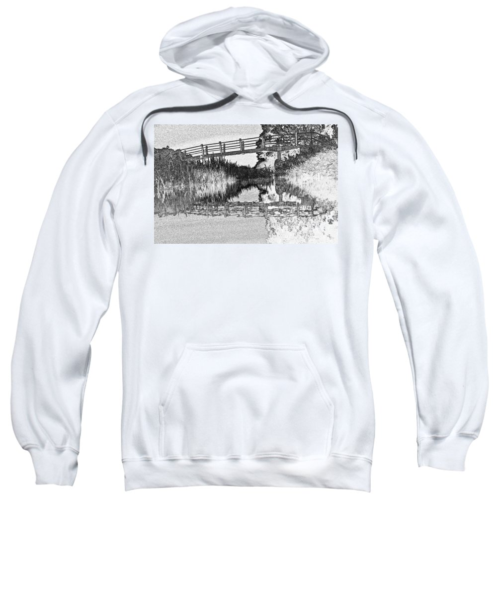 Bridge Sweatshirt featuring the digital art Bridge Across The River by David Pyatt