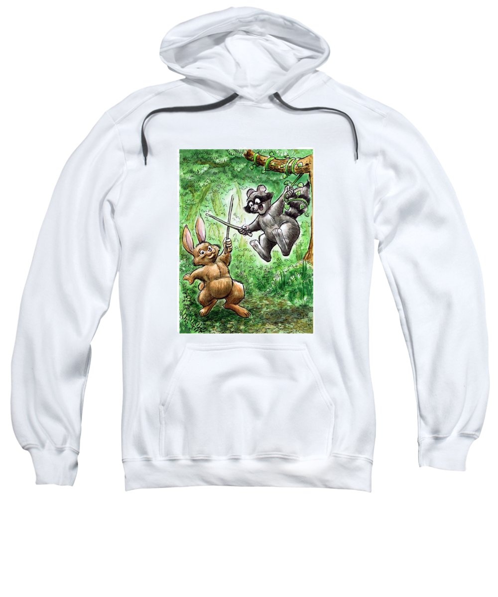 Jennings State Forest Sweatshirt featuring the painting 20 - Jennings State Forest - Sword Play by Rob Smith