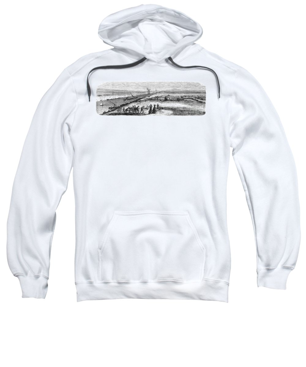 1869 Sweatshirt featuring the photograph Suez Canal Construction by Granger