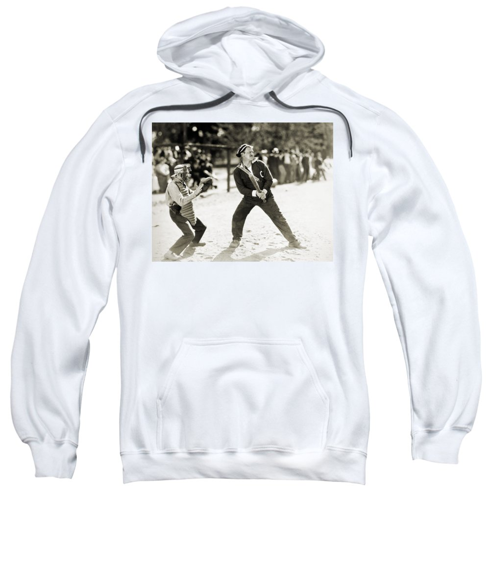 -sports- Sweatshirt featuring the photograph Silent Film Still: Sports by Granger
